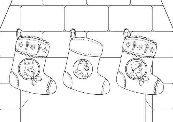 navidad para colorear10382 calcetines de navidad de los reyes